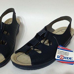 Rohde Naturform Laced Open Toe Navy Sandal